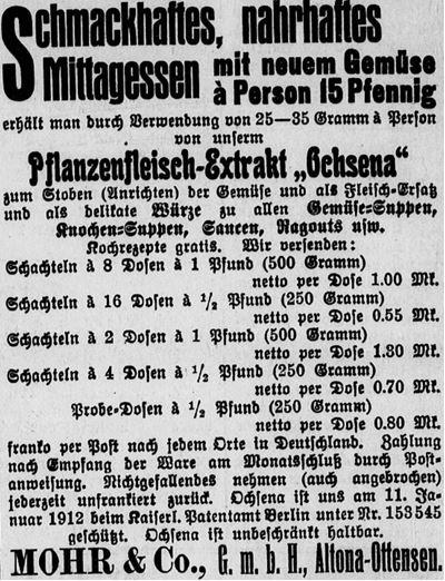 11_Riesaer Tageblatt und Anzeiger_1913_07_17_Nr163_p8_Versandgeschaeft_Pflanzenfleischextrakt_Ochsena_Mühr_Altona