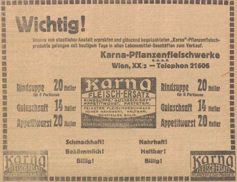 13_Neues Wiener Tagblatt_1912_02_07_Nr036_p31_Fleischersatz_Pflanzenfleisch_Hefeextrakt_Suppenpraeparate_Karna_Wien