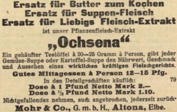 15_Wiesbadener Neueste Nachrichten_1915_10_12_Nr236_p6_Ersatzmittel_Fleischextrakt_Pflanzenfleischextrakt_Ochsena_Mohr_Altona
