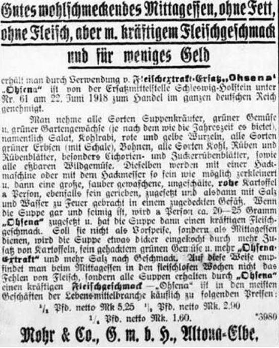 20_Rosenheimer Anzeiger_1918_08_11_Nr184_p4_Ersatzmittel_Fleischextraktersatz_Ohsena_Mohr_Altona