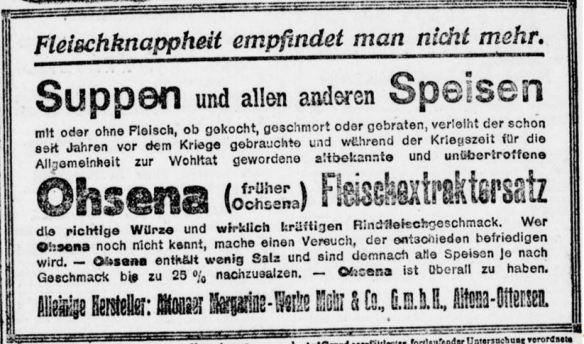 23_Berliner Tageblatt_1919_06_25_Nr155_p12_Ohsena_Fleischextraktersatz_Mohr_Altona_Suppenpraeparate_Fleischersatz