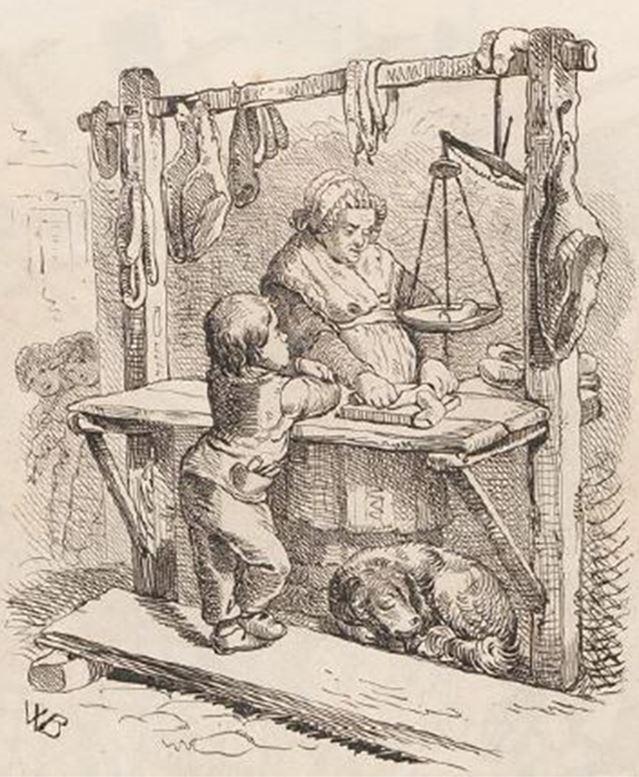 06_Duesseldorfer Monatshefte_05_1852_p151_Fleisch_Marktstand_Hygiene_Verkaeufer-Kaeufer_Waage