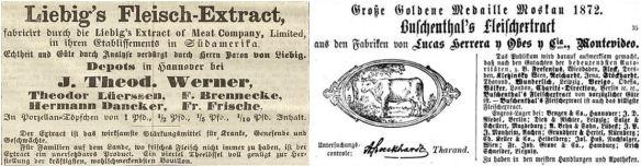08_Hannoverscher Courier_1867_01_07_p4_Illustrirte Zeitung_60_1873_p131_Fleischextrakt_Liebig_Buschenthal_Suedamerika