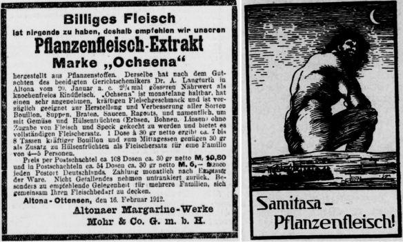 18_Berliner Volks-Zeitung_1912_10_03_Nr465_p09_Deutscher Reichsanzeiger_1913_05_30_Nr126_p17_Fleischersatz_Pflanzenfleisch_Ochsena_Samitasa