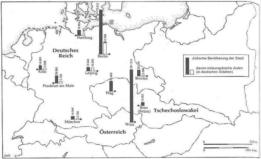 04_Barkai_1997_p60_Urbanisierung_Juden_Metropolen_Karte_Statistik_Mitteleuropa