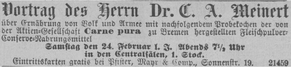 09_Neueste Nachrichten und Münchener Anzeiger_1883_02_24_Nr055_p08_Meinert_Fleischpulver_Carne-Pura_Probekochen