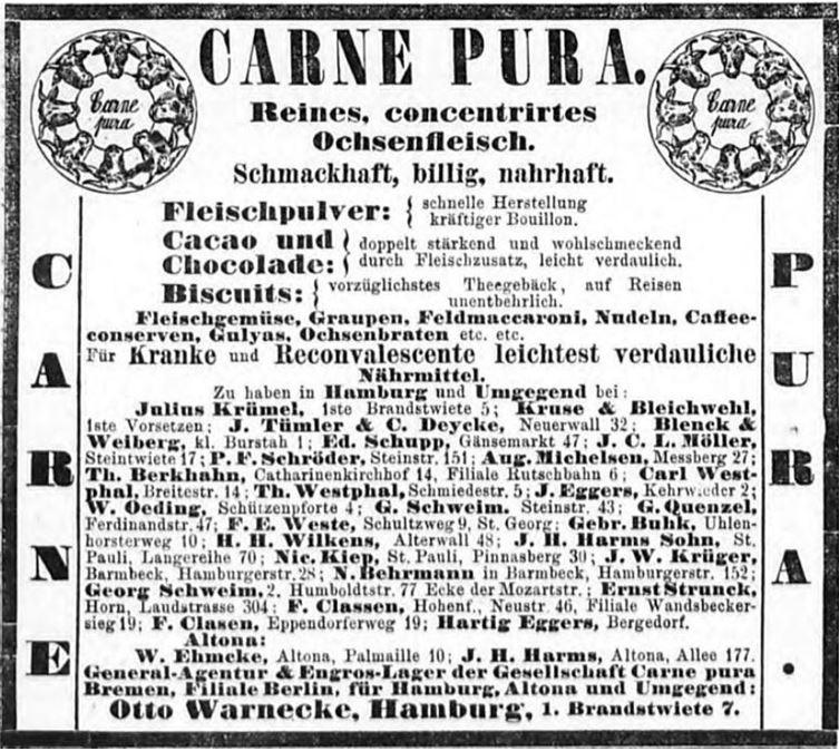 11_Hamburger Nachrichten_1883_02_18_Nr042_p12_Carne-pura_Bremen_Sortiment_Fleischpulver_Otto-Warnecke