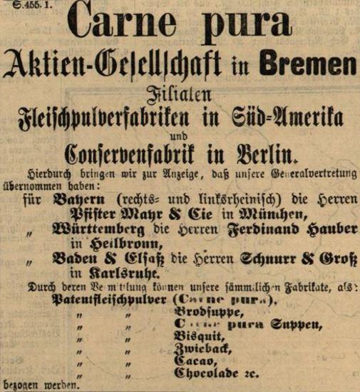 13_Karlsruher Zeitung_1883_01_07_Nr006_p4_Carne-Pura_Fleischpulver_Schnurr-Groß_Sortiment_Bremen