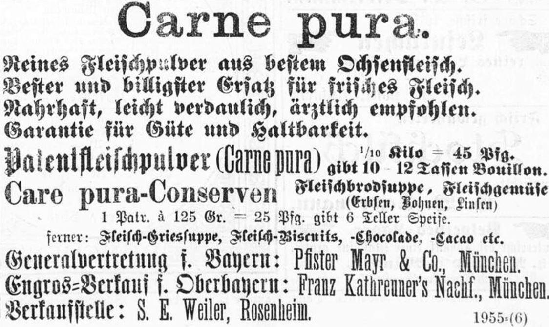15_Rosenheimer Anzeiger_1883_12_19_Nr289_p3_Carne-pura_Fleischpulver_Fleischkonserven_Suppenpraeparate.