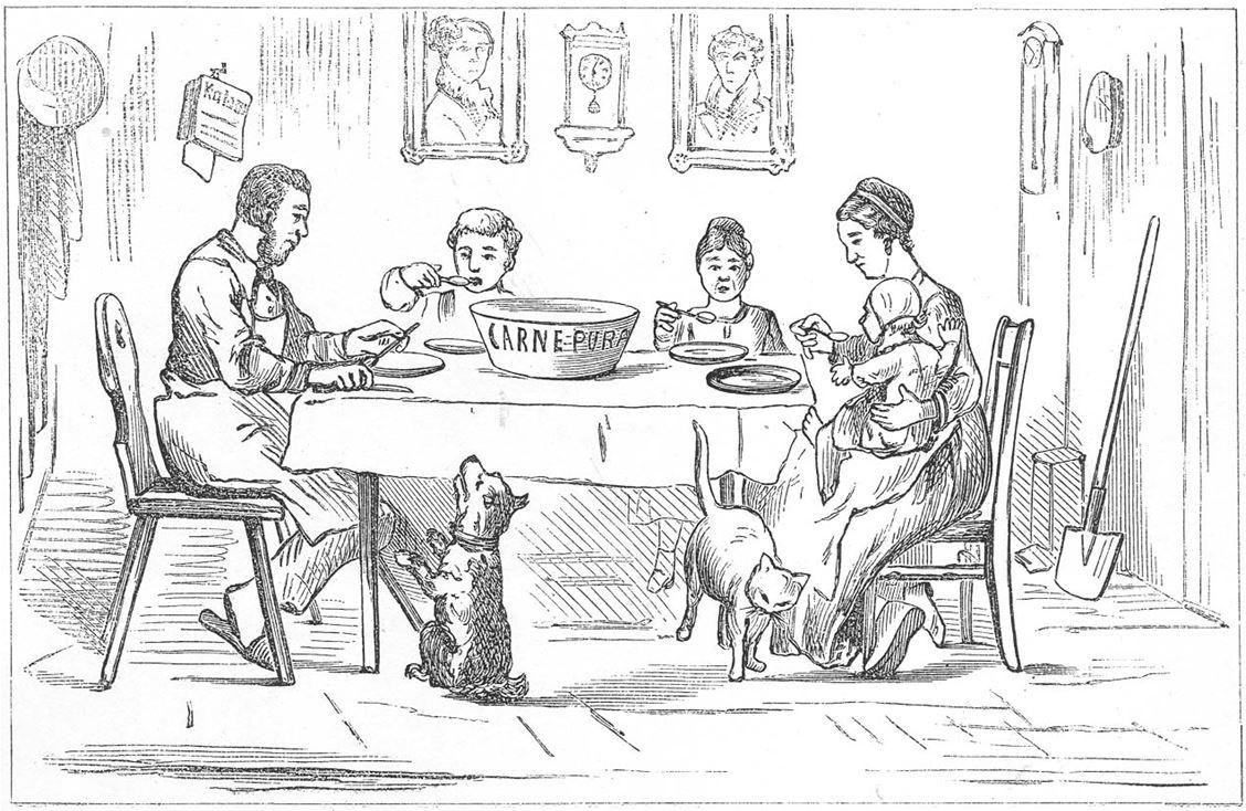 17_Stinde_1882_p11_Fleisch_Fleischpulver_Carne-Pura_Volksnahrungsmittel_Arbeiter_Familie