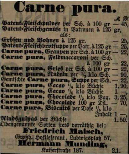19_Karlsruher Tagblatt_1883_04_28_Nr115_p1218_Carne-Pura_Fleischpulver_Suppenpraeparate_Sortiment_Preise