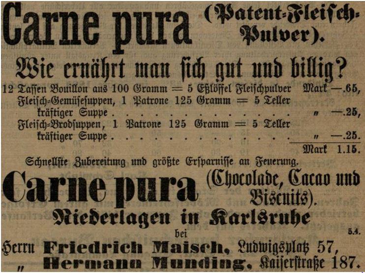 20_Karlsruher Tagblatt_1883_02_10_Nr040_p0337_Carne-Pura_Fleischpulver_Suppenpraeparate_Preise_Arbeiterernaehrung