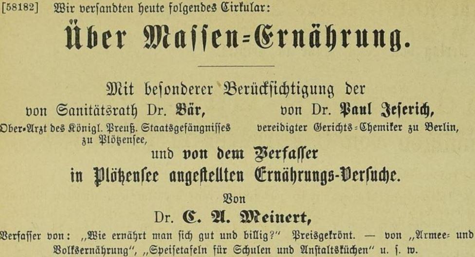 25_Boersenblatt für den deutschen Buchhandel_1885_11_16_Nr265_p5738_Meinert_Gefangenenernaehrung_Jeserich_Ploetzensee_Carne-pura
