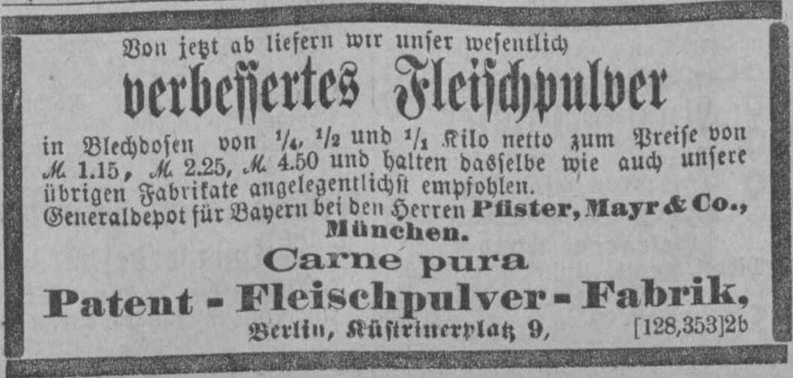 28_Neueste Nachrichten und Muenchener Anzeiger_1885_11_03_Nr307_p05_Fleischpulver_Carne-Pura_Verpackung_Berlin
