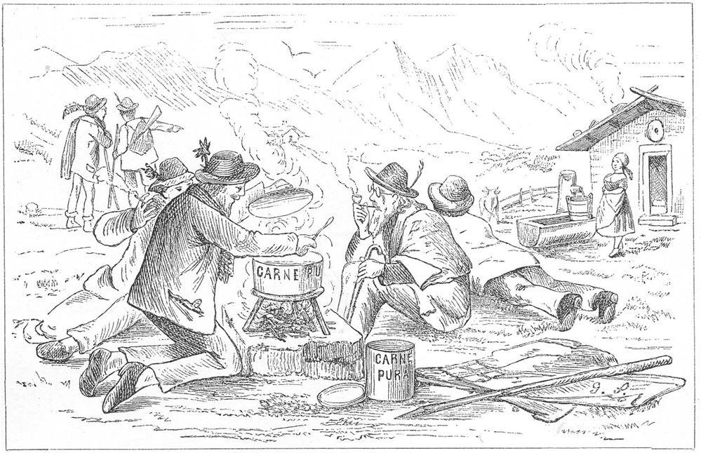 29_Stinde_1882_p13_Carne-Pura_Reiseverpflegung_Suppenpraeparate_Touristen_Alpen