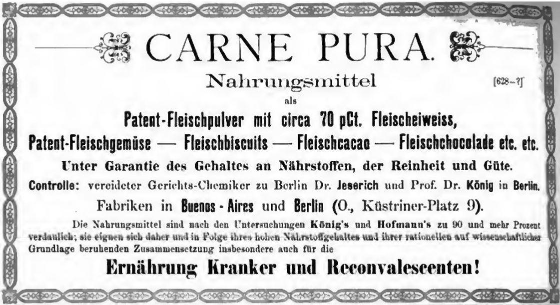 31_Deutsche Medizinal-Zeitung_1882_Nr47_Medizinal-Anzeiger_p4_Carne-pura_Krankenernaehrung_Fleischpulver_Eiweiß