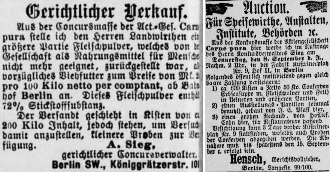 32_Mittheilungen über Landwirthschaft_1887_01_14_Nr02_p12_Berliner Tageblatt_1887_09_07_Nr451_p04_Carne-pura_Konkurs_Viehfutter_Fleischmehl