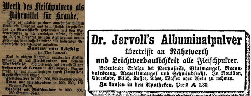 33_Karlsruher Tagblatt_1888_10_04_Nr272_p3673_General-Anzeiger fuer Hamburg-Altona_1890_09_11_Nr213_p08_Fleischpulver_Schnurr-Gross_Liebig_Krankenkost_Albuminatpulver_Dr-Jervell