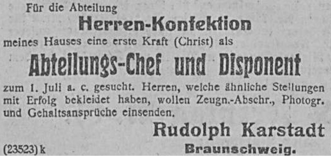10_Allgemeine Zeitung_1907_04_20_Nr182_p12_Karstadt_Warenhaus_Stellenanzeige_Antisemitismus_Braunschweig