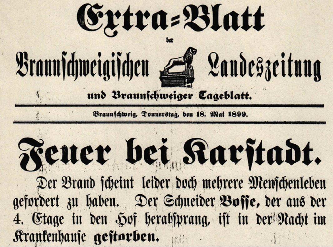 13_Braunschweigische Landeszeitung_1899_05_18_Extrablatt_Warenhausbrand_Karstadt
