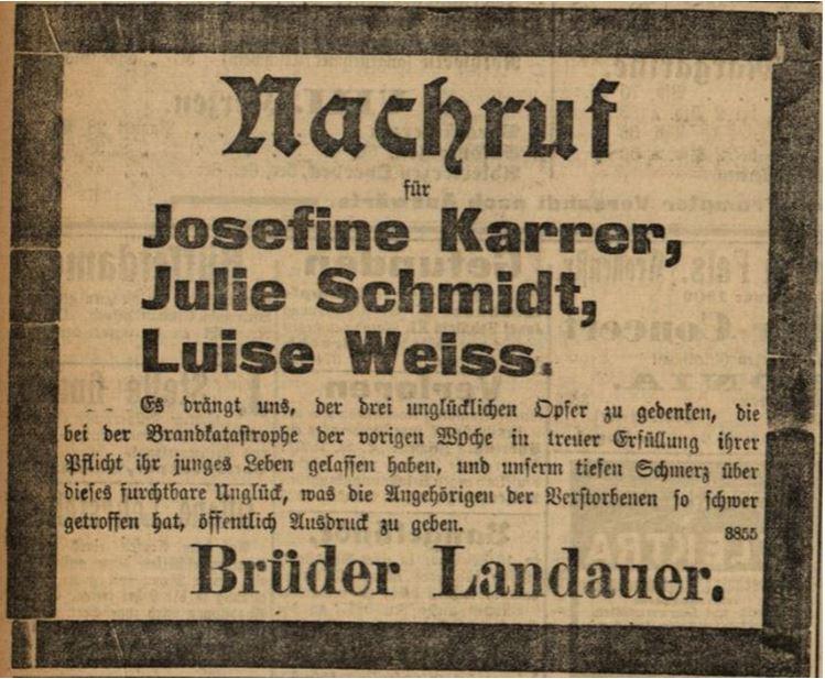21_Badische Presse_1900_02_14_Mittagausgabe_Nr037_p6_Warenhausbrand_Karlsruhe_Landauer_Traueranzeige